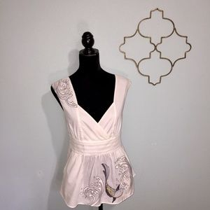 Anthropologie cream and gray fish top